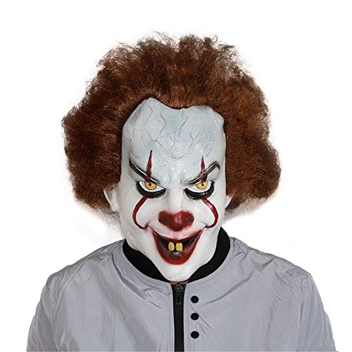 HLLPG Halloween Scary Evil Clown Mask Latex Rubber Outdoor Bar Costume Party Masks for Masquerade Birthday Parties Carnival -