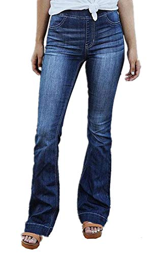 - Women's Fashion High Waist Wide Leg Bootcut Slim Denim Flare Bellbottom Jeans