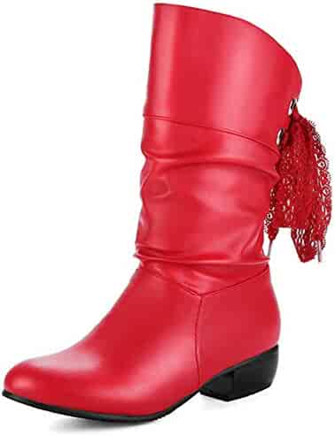8e7989903386 Mofri Women's Round Toe Low Block Heel Slouchy Lace up Mid Calf Boots