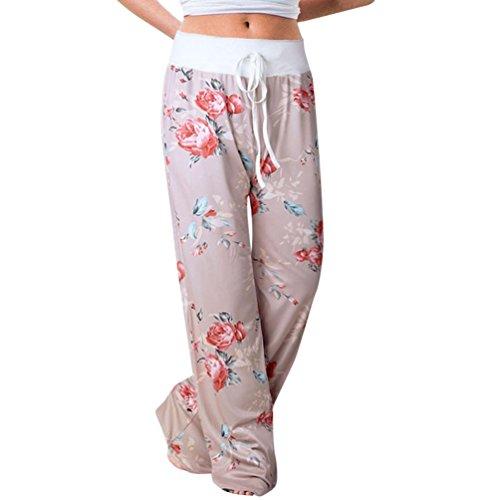 (Plus Size Pants for Womens, FORUU Printed Trousers Ladies Summer Loose Wide Leg (3XL, Khaki))