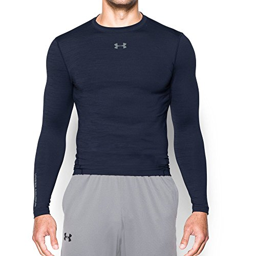 Under Armour Men's ColdGear Armour Twist Compression Crew, Midnight Navy/Steel, Small by Under Armour (Image #4)