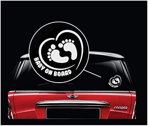 TOTOMO b/éb/é /à bord autocollant - empreinte au c/œur ALI-039 dr/ôle mignon cool s/écurit/é prudence autocollant signe pour vitres de voiture et pare-chocs lot de 2