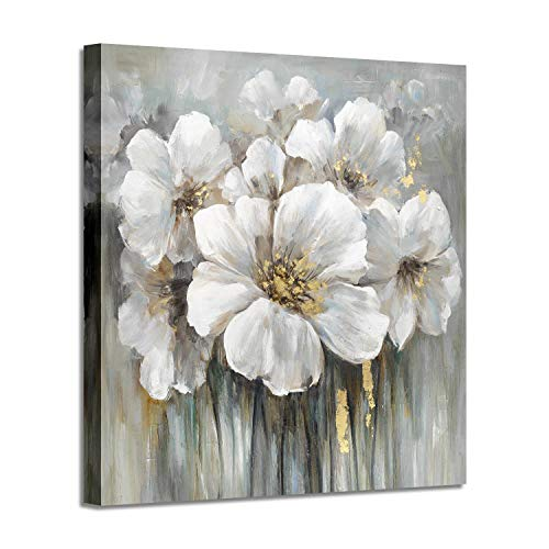 (Wall Art Botanical Pictures Painting: White Lily Bouquet of Flowers Oil Painting Floral Artwork Print on Wrapped Canvas for Walls)