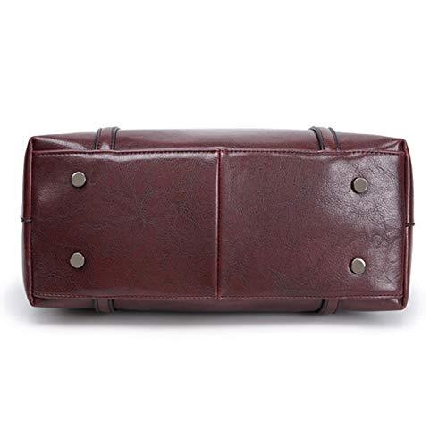 Retrò Bag Limotai Borse Messenger Scuro Handbag Stile Pu Cera Olio Ladies Borsette Onorevoli Donna Rosso qzPgq