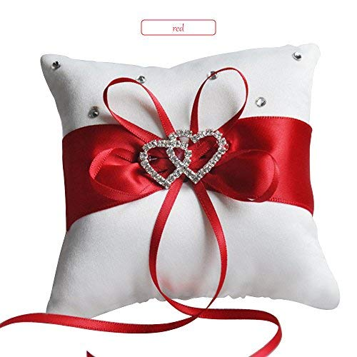 (Qisheng Heart-Shaped Bow Wedding Bearer Ring Pillow Small Ring Bearer Pillow(Red) (5.9 × 5.9 in))