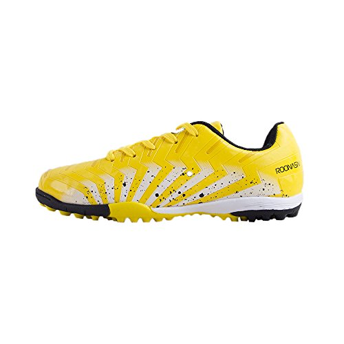 ROONASN Kids' Outdoor/Indoor Soccer Shoes Football Training Cleat Shoes (12 D(M) US, Yellow/White) (Turf Shoes Outdoor Soccer)