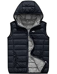 Wantdo Boy's Packable Hooded Down Vests Sleeveless Lightweight Jackets