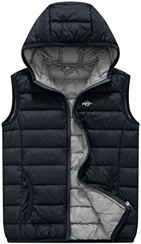 Boys Down Jacket Clearance (Wantdo Boy's Packable Puffer Down Vest Winter Coat Bodywarmer Dark Grey)