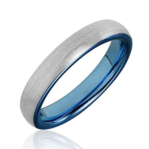 Bishilin 4mm Mens Womens Stainless Steel Wedding Bands Silver Blue Matte Engagement Rings Size:7.5