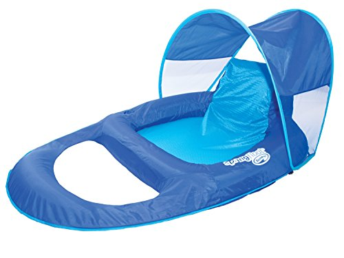 SwimWays Spring Float Recliner Pool Lounger with Canopy Lounger Pool Float Toy