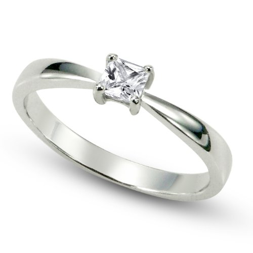 Sz 8 Sterling Silver Cubic Zirconia Solitaire 0.1 Carat tw Princess Cut CZ Engagement Ring 0.1 Ct Tw Band