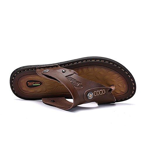Scarpe Vacchetta Grandi Pelle di in Doppia Uomo Pantofola Sandali di Cricket a da da Cachi Sandali Pattino Casual Spiaggia Funzione Dimensioni da OawUPU