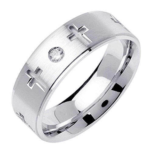 0.06ct TDW White Diamonds 18K White Gold Religious Women's Wedding Band (G-H, SI1-SI2) (7mm) Size-8c2 ()