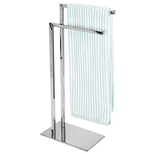 mDesign Tall Modern Stainless Steel Towel Rack Holder - 2 Tier Organizer for Bathroom Storage and Organization Next to Tub or Shower, Holds Bath & Hand Towels, Washcloths - Chrome