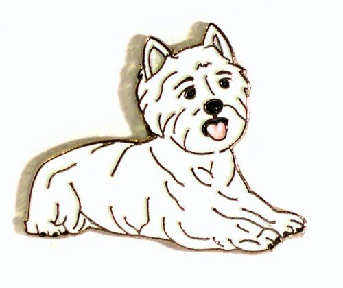 Broche en métal émaillé Motif chien Westie Motif West Highland Terrier)