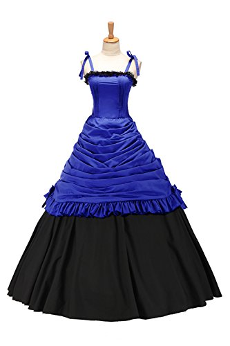 XOMO Sweet Southern Belle Civil War Lace Ball Gown Prom Jumper Skirt Dress Blue XL Southern Belle Ball Gown