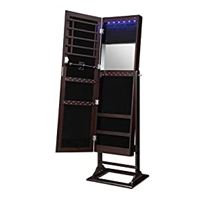 Abington Lane Standing Jewelry Armoire – Lockable Cabinet Organizer Jewelry Storage with Full Length Mirror and LED…
