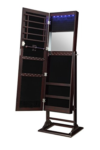 Oak Mirror Jewelry Armoire - Abington Lane Standing Jewelry Armoire - Lockable Cabinet Organizer with Full Length Mirror and LED Lights (Espresso)