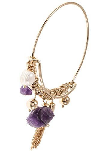 GlitZ Finery Natural Stone Multi Dangle Charm Accent Wire Bangle Bracelet (Multi Stone Dangle Bracelet)
