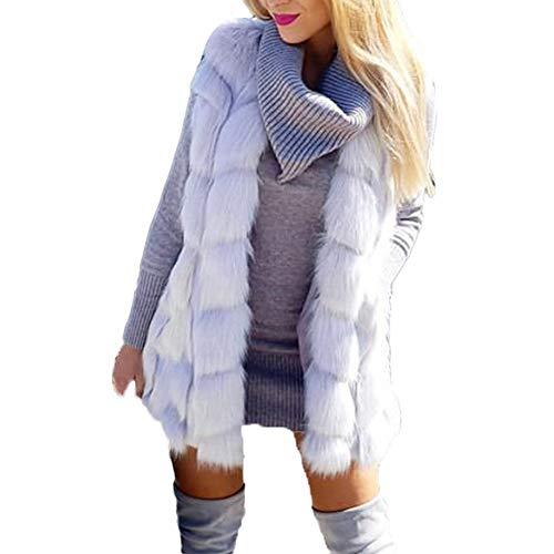 HOSOME Women Faux Fur Coat Ladies Sleeveless Vest Waistcoat Jacket Gilet Shrug Outwear Tops White