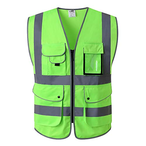 JKSafety 9 Pockets Class 2 High Visibility Zipper Front Safety Vest With Reflective Strips, Meets ANSI/ISEA Standards (Medium, Green) …