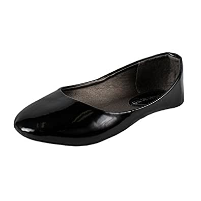 West Blvd Womens BALLET Flats Slip On Shoes Ballerina Slippers, Black Patent, US 5