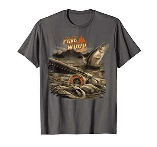 Pine Wood Lodge Fishing Camping Outdoors Graphic T-Shirt