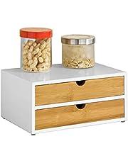 SoBuy® FRG180-WN Stojak na ekspres do kawy i kapsułka na herbatę pudełko organizer z 2 szufladami, szer. 30 x gł. 20 x wys. 14 cm