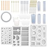 SUBANG 9 Pack Jewelry Casting Molds Silicone Resin Jewelry Molds with 48 Screw Eye Pins, 5 Wooden Stick, 5 Plastic Spoons, 5 Plastic Droppers, 4 Cupsill and 2 Plastic Droppers
