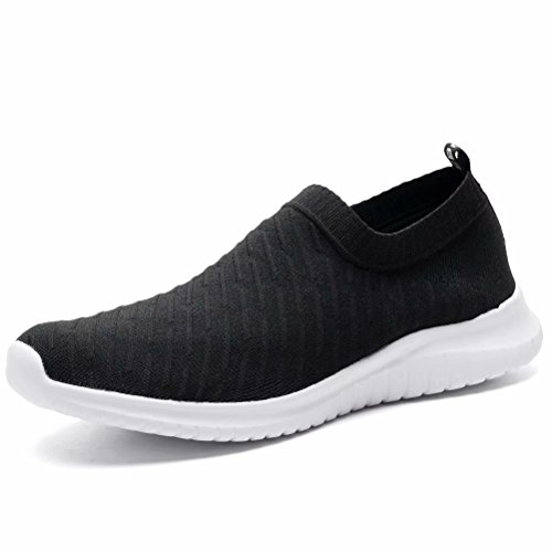 LANCROP Women's Lightweight Slip On Athletic Sneakers Breathable Mesh Walking Shoes,2108 Black,5 B(M) US by LANCROP