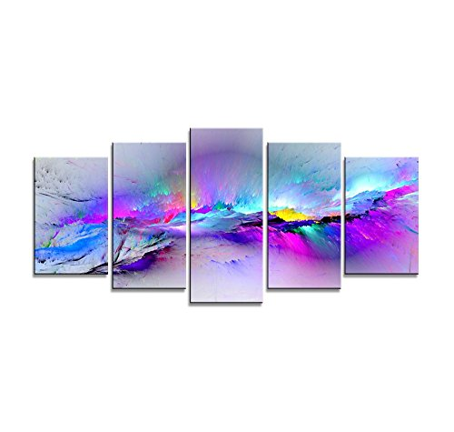 Wieco Art - Changing Colors Giclee Canvas Prints 5 panels