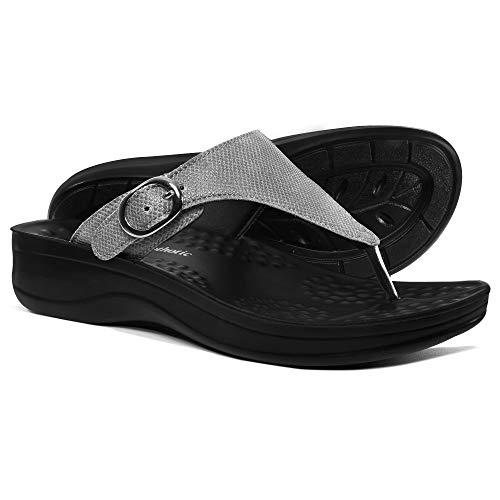 AEROTHOTIC Comfortable Orthopedic Arch Support Flip Flops and Sandals for Women (US-Women-6, Mosaic Grey)