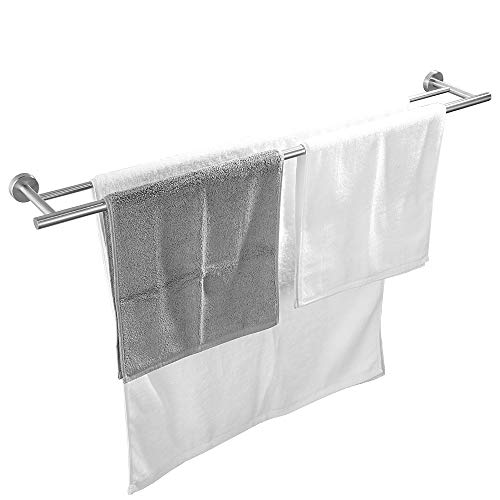 JQK Double Bath Towel Bar, 36 Inch Stainless Steel Towel Rack for Bathroom, Bath Towel Holder Brushed Wall Mount, Total Length 39.13 Inch, TB100L36-BN