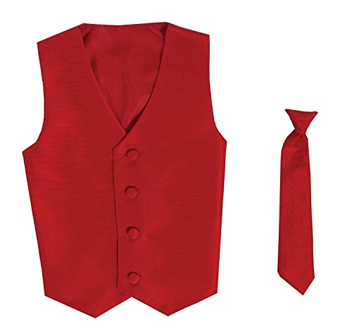 - Vest and Clip On Boy Necktie set - RED - 8/10