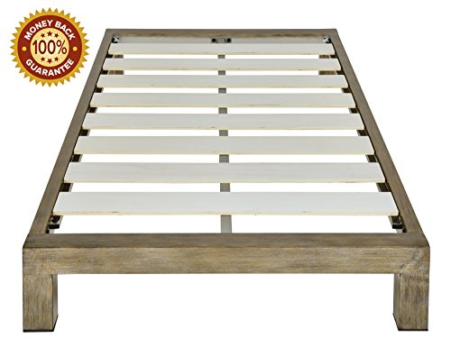 In Style Furnishings Stella Modern Metal Low Profile Thick Slats Support Platform Bed Frame - Twin Size, Gold