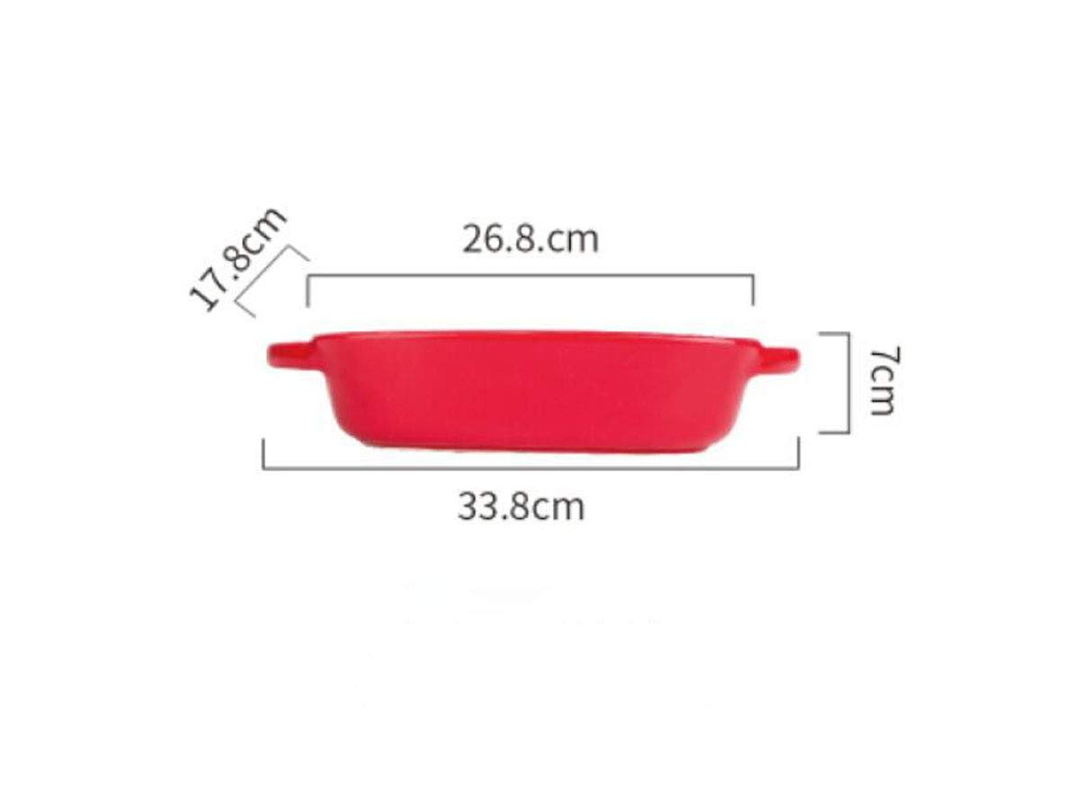 Kehuitong Baking Pan,Ceramic Baking Tray, Nordic Tableware, Rectangular, Can Be Used For Family And Banquet, Red, White, 27216.2cm (Color : Red, Size : 27216.2cm)