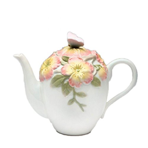 Cg 20810 20 Oz Traditional White Ceramic Teapot with Apple Blossom Decor