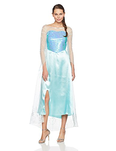 Elsa Adult Dress (Disguise Women's Disney Frozen Elsa Deluxe Costume, Light Blue, Small/4-6)