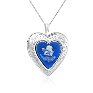 "Sterling Silver Simulated Cameo Little Angel Heart Locket Necklace, 18"" By Regetta Jewelry"