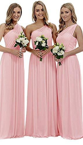 Women's Pink One Shoulder Wedding Bridesmaid Dresses Long Asymmetric Chiffon Formal Evening Dress ()