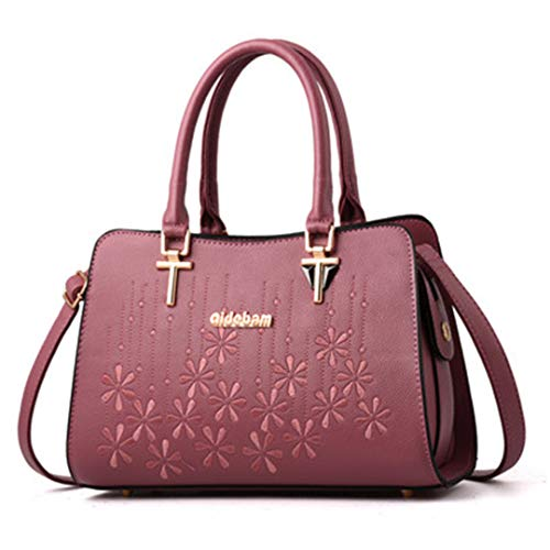 à de pour d'épaule à broderie à main de de dames grande élégants des capacité de femmes Sacs Pink Sacs bandoulière sacs cuir main en EFHqZ