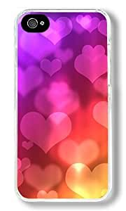Colored Heart-shaped Background Image Custom iPhone 4S Case Back Cover, Snap-on Shell Case Polycarbonate PC Plastic Hard Case Transparent