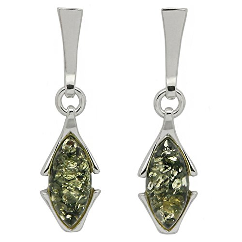 925 Sterling Silver Art Deco Stud Dangle Earrings with Genuine Natural Baltic Green Amber.