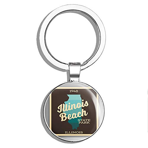 PRS Vinyl Illinois Beach State Park Explore Wanderlust Camping Hiking Double Sided Stainless Steel Keychain Key Ring Chain Holder Car/Key Finder