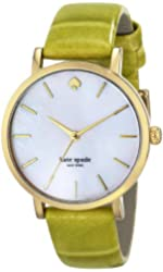 kate spade new york Women's 1YRU0534 Metro Gold-Tone Stainless Steel Watch with Green Leather Band