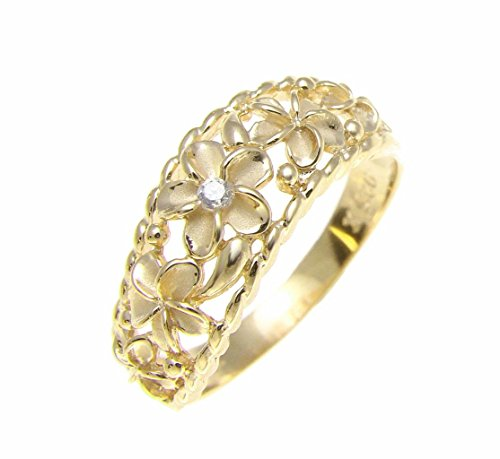 Yellow gold plated 925 sterling silver 5 Hawaiian plumeria flower cz ring curve style Size 7.5 ()