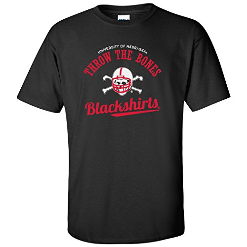 CornBorn Nebraska Huskers Tee Shirt - Script Blackshirts Throw The Bones - Black - 4X