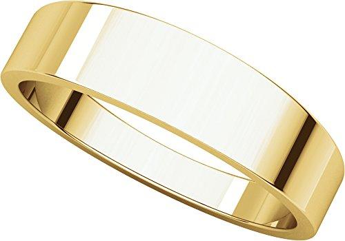 Mens 18K Yellow Gold, Flat Tapered Wedding Band 5MM (sz 9.5)