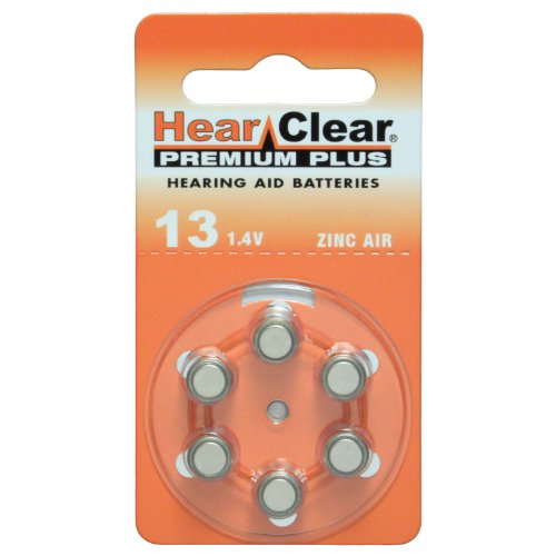 HearClear Hearing Aid Batteries Size 13 , PR48 (60 Batteries) (Hearclear Aid Batteries Hearing)