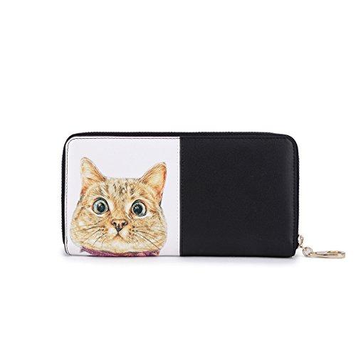 7757b31b7ab5ce Damen Leder Geldbörse Katze Portemonnaie Clutch Reißverschluss Kreditkarte  Geldbeutel Handtaschen Tasche Groß Schwarz Schwarz-e